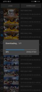 実際に THETA Z1 から Android スマホに、RAWファイルがコピーされているところ / Theta DNG Transfer(未公開版)